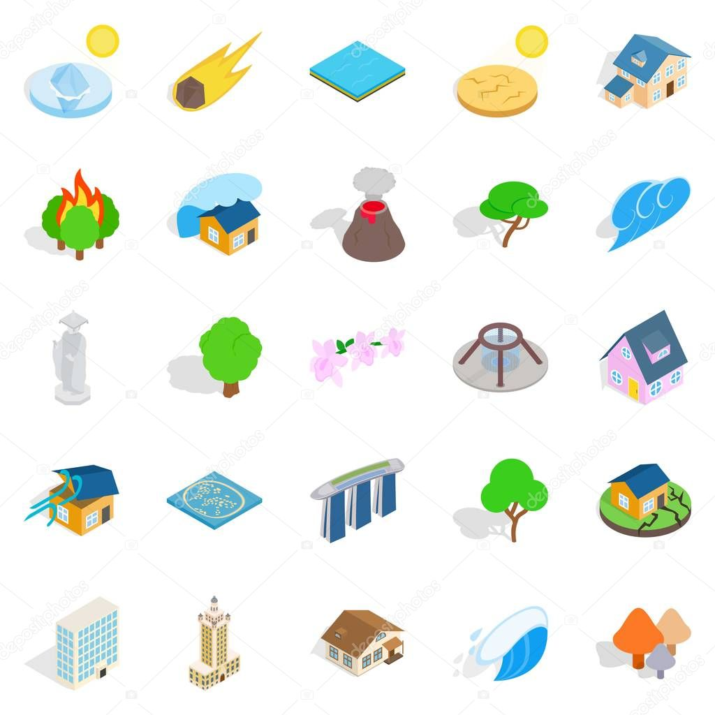 Land icons set, isometric style