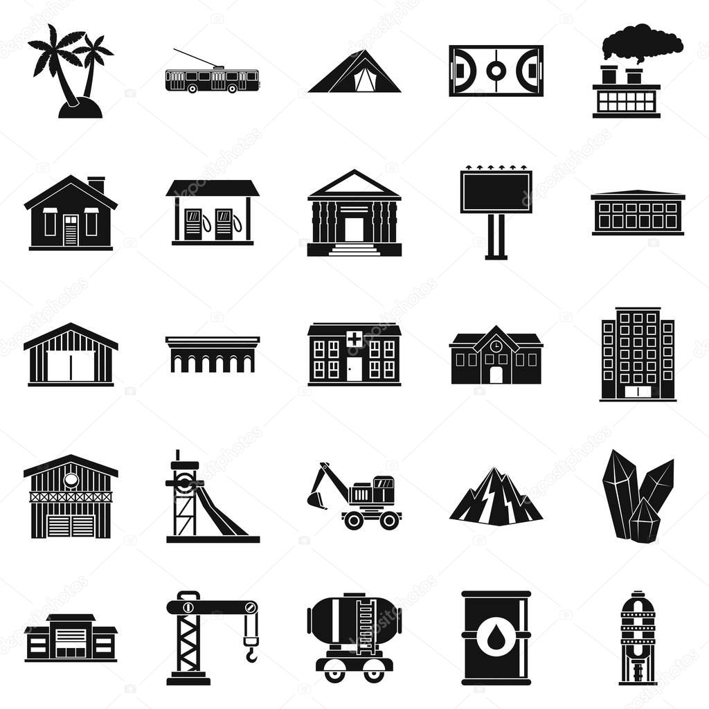 Situation icons set, simple style