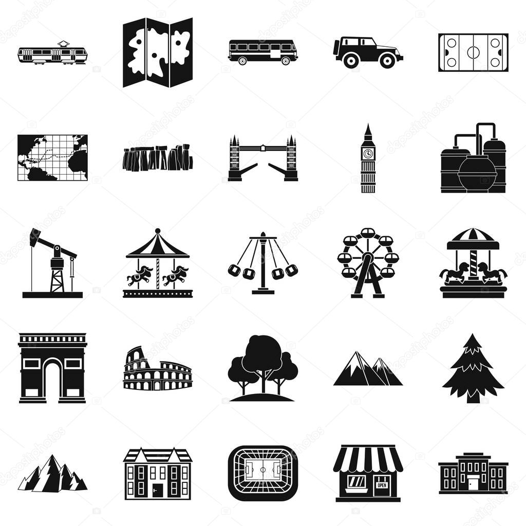 Community icons set, simple style