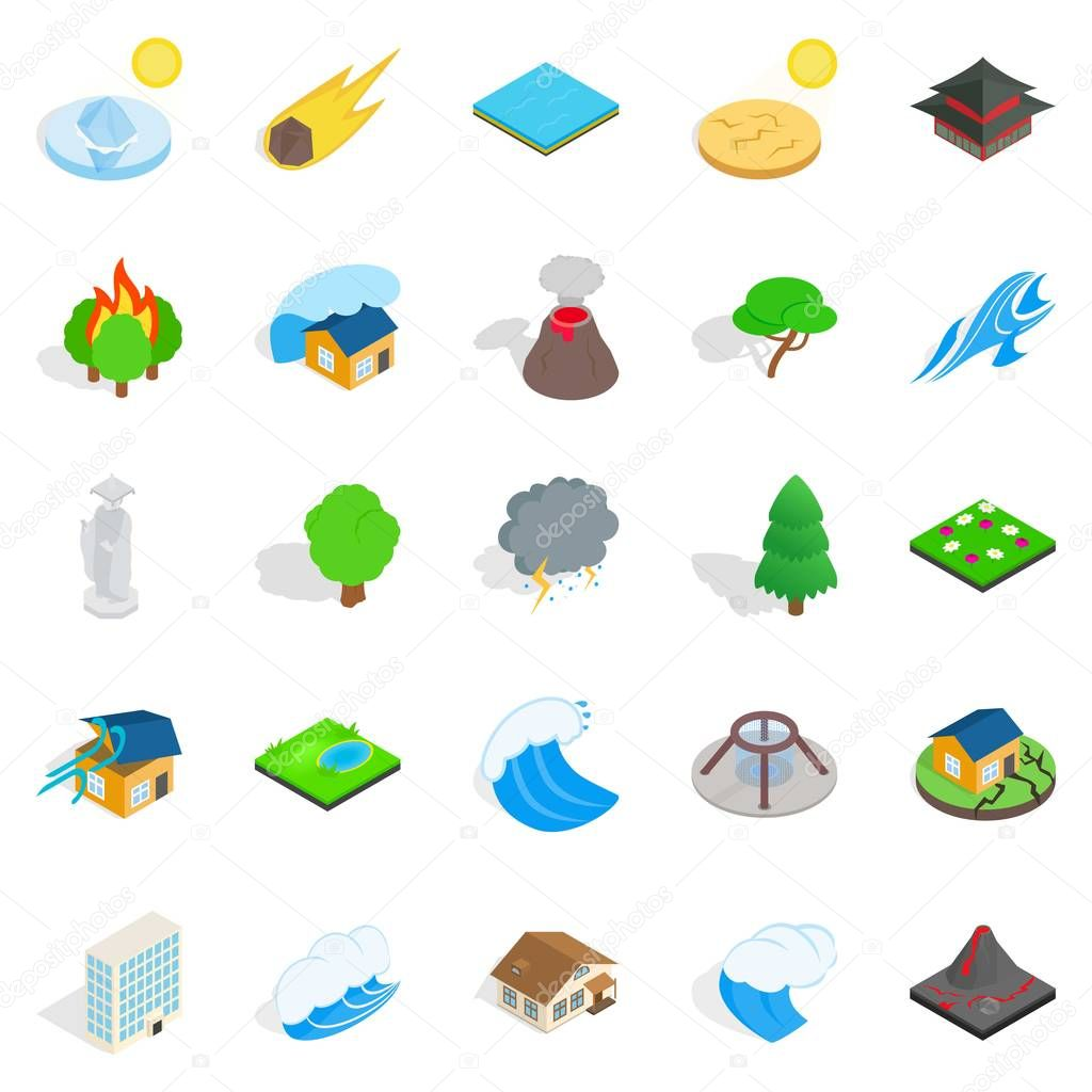 Landscape element icons set, isometric style