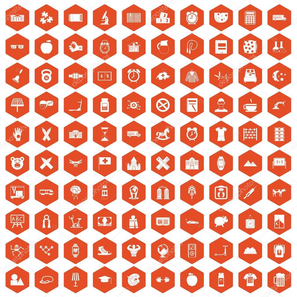 100 alarm clock icons hexagon orange