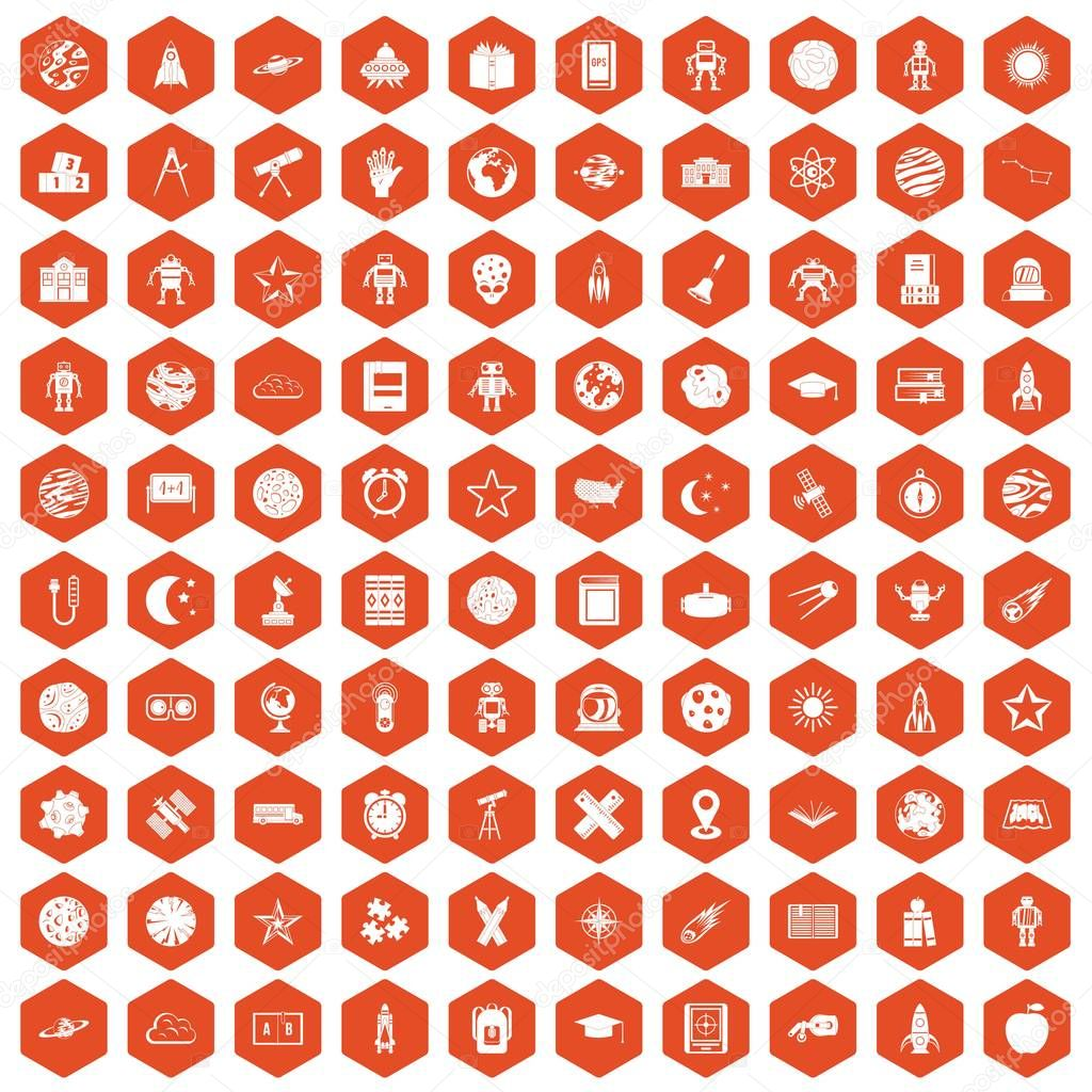 100 astronomy icons hexagon orange