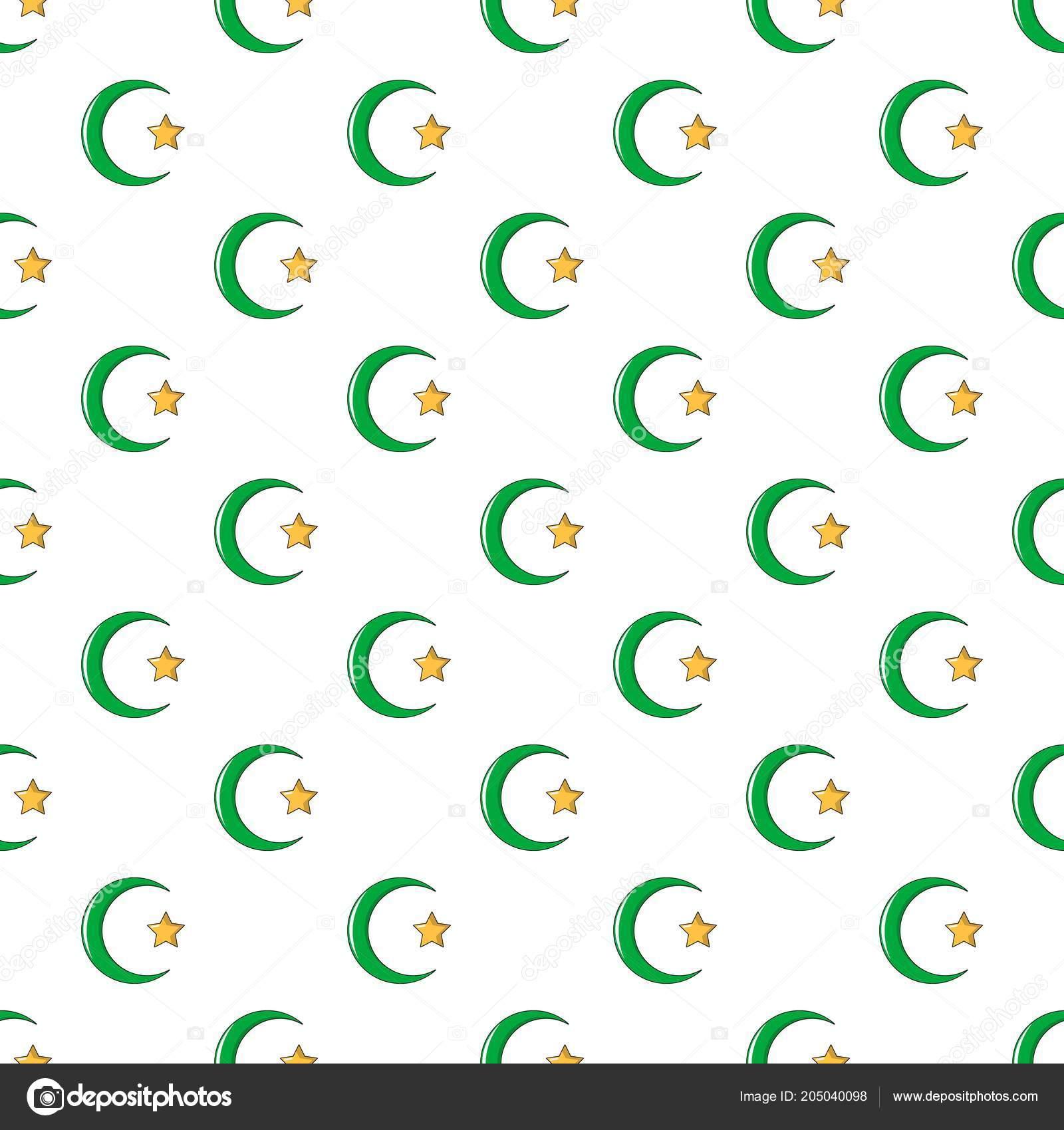 Estrella, media luna símbolo de patrón del islam sin costura ...