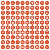 Fotografie 100 bus icons hexagon orange