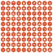 Fotografie 100 happy childhood icons hexagon orange