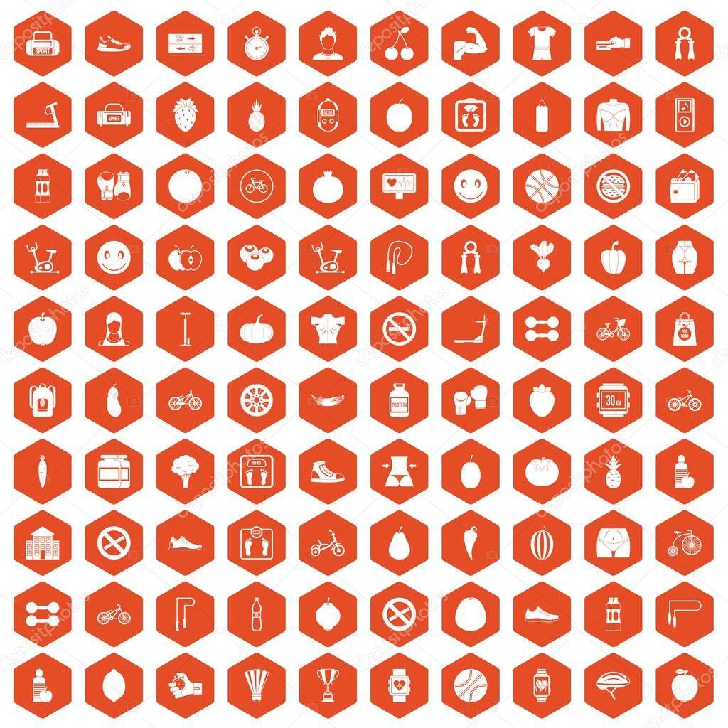 100 fitness icons hexagon orange