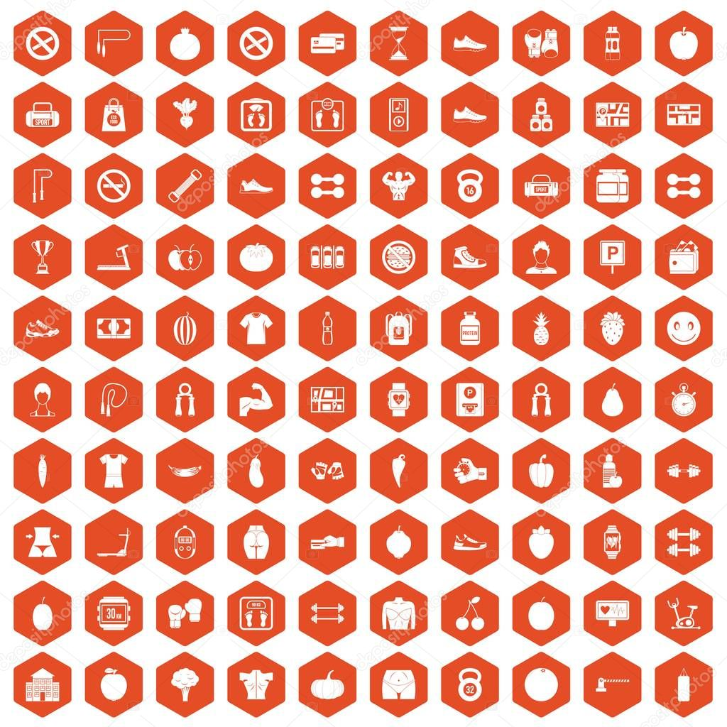 100 gym icons hexagon orange