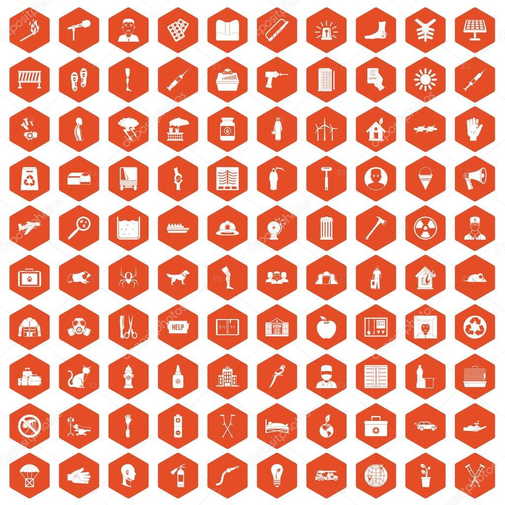 100 help icons hexagon orange