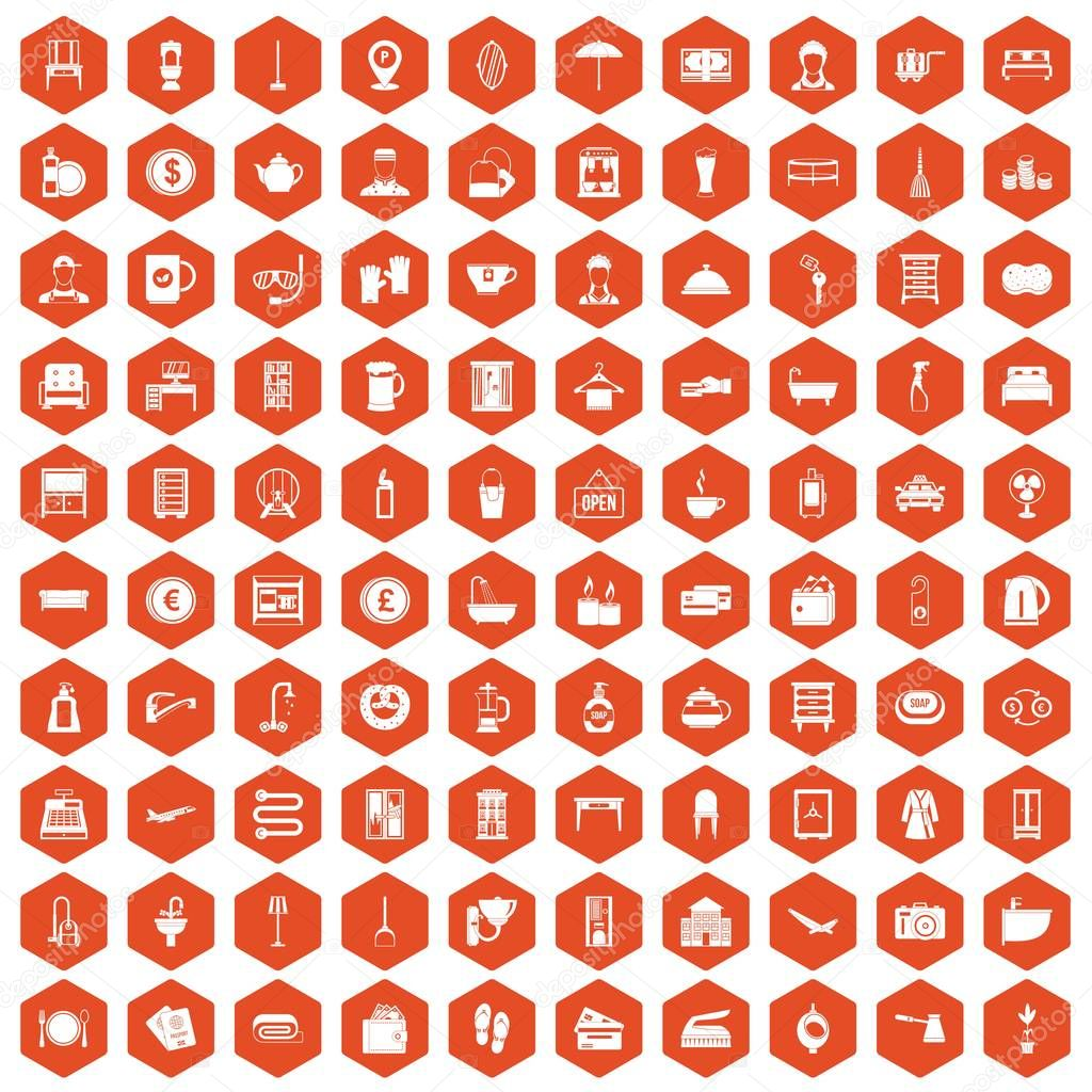 100 inn icons hexagon orange