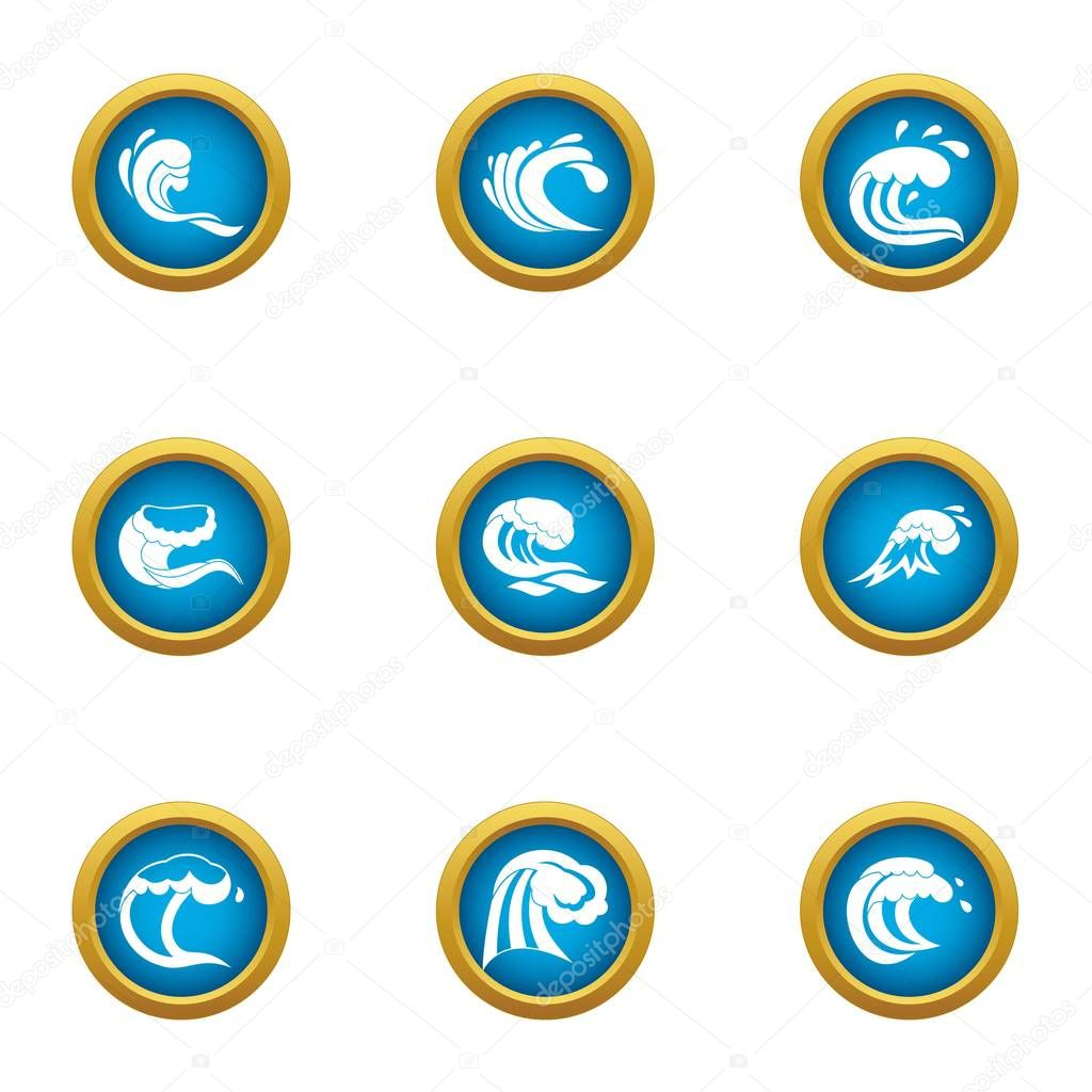Great wave icons set, flat style