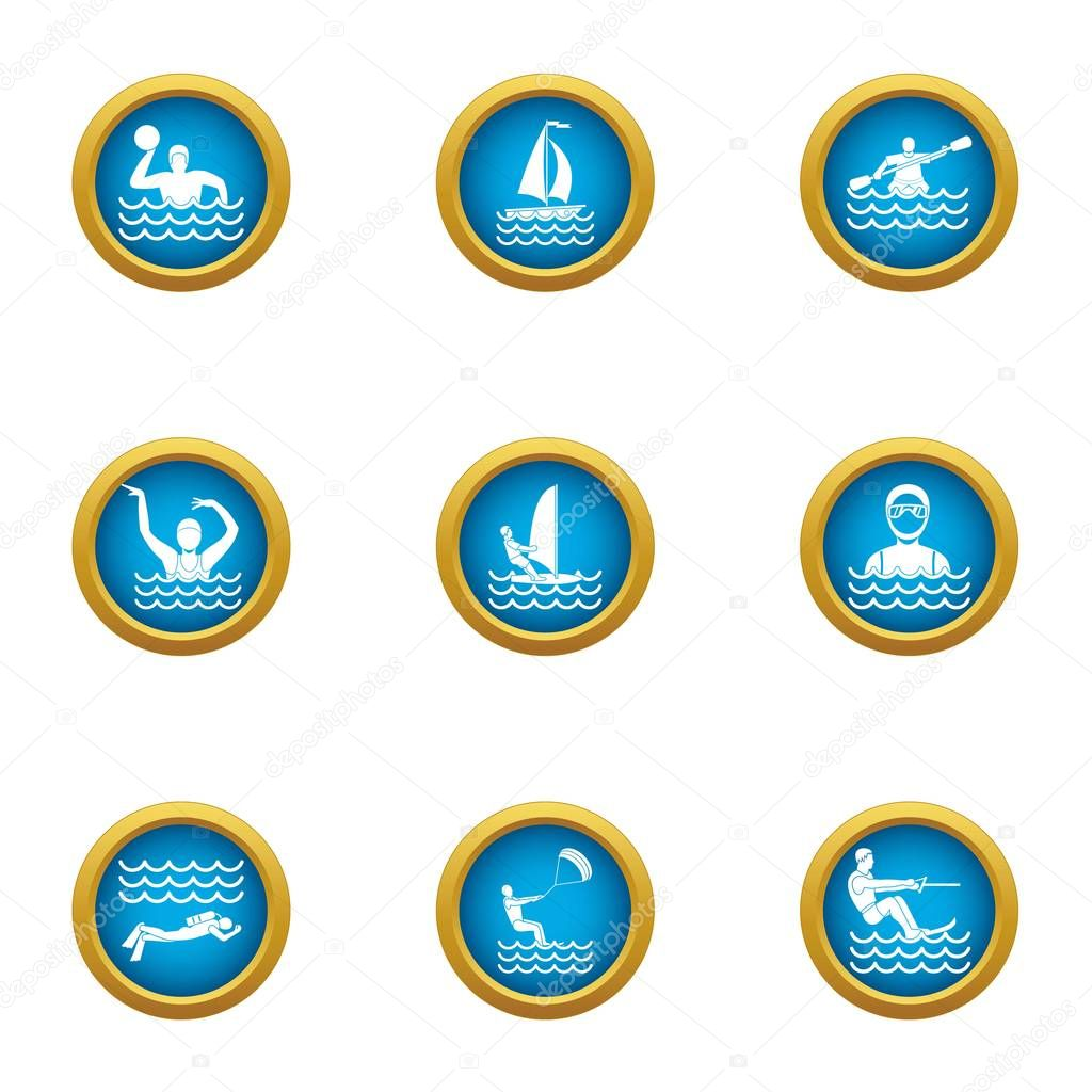 Water polo icons set, flat style