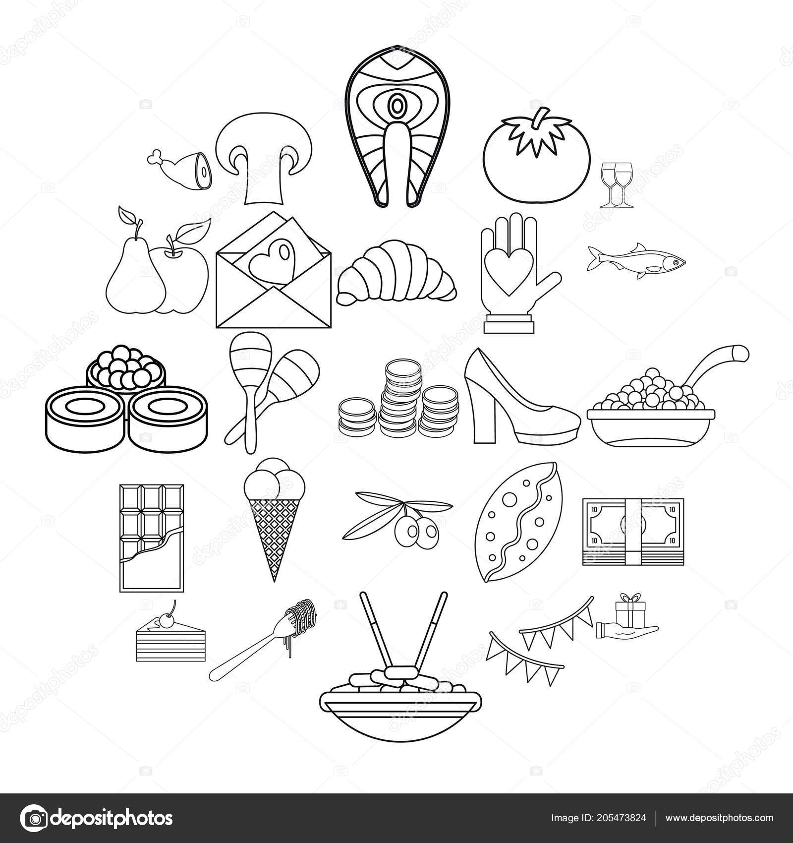 Wedding Reception Icons Set Outline Style Stock Vector