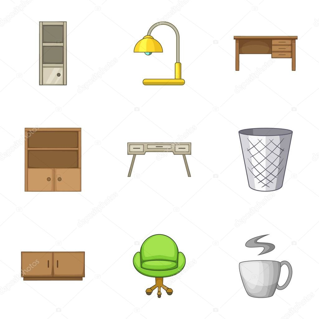 Cabinet icons set, cartoon style