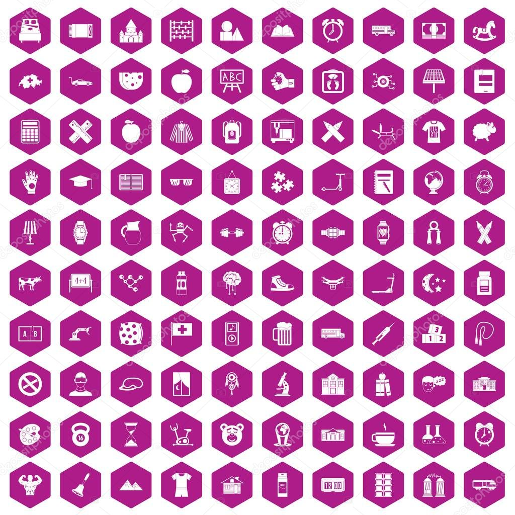 100 alarm clock icons hexagon violet