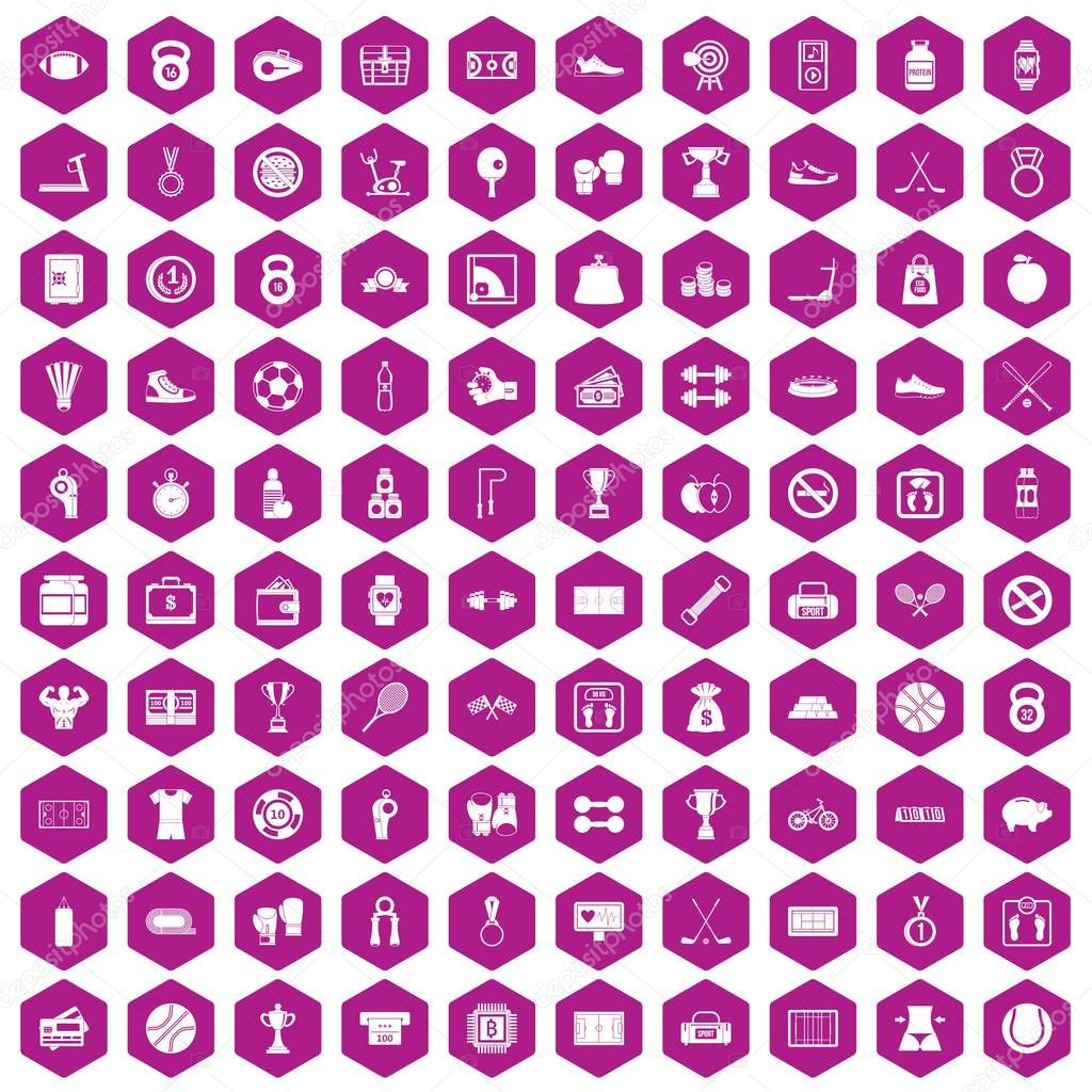 100 basketball icons hexagon violet