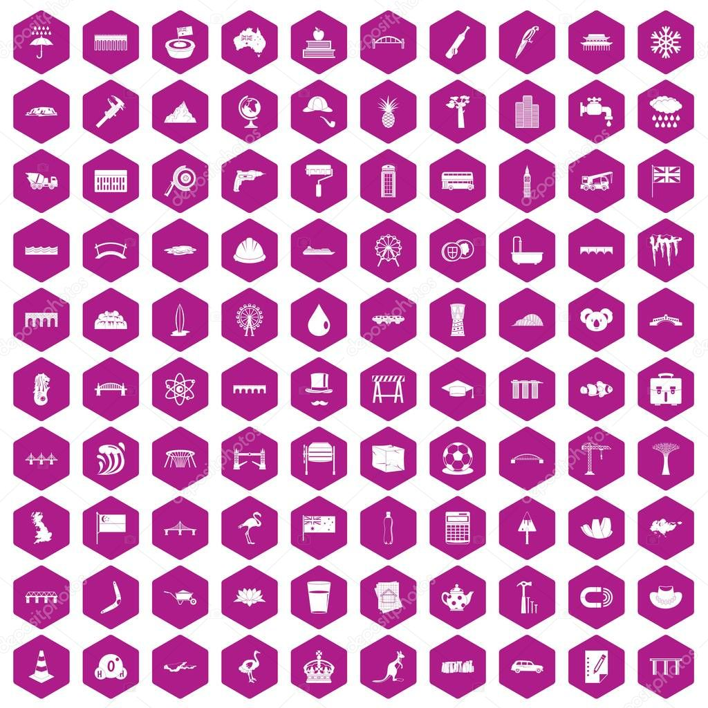 100 bridge icons hexagon violet