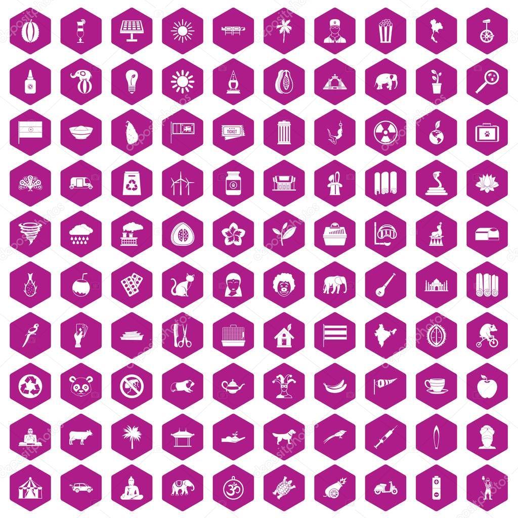 100 elephant icons hexagon violet