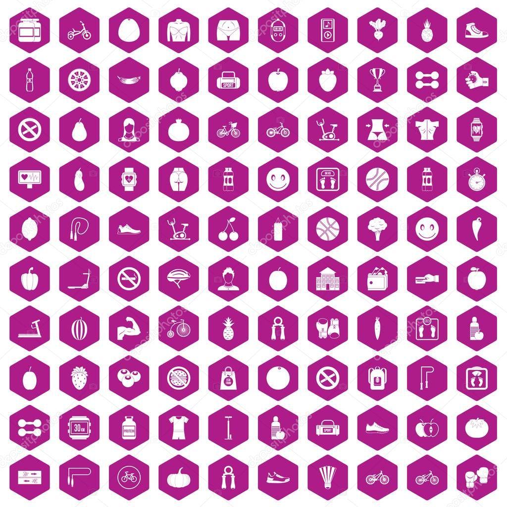 100 fitness icons hexagon violet