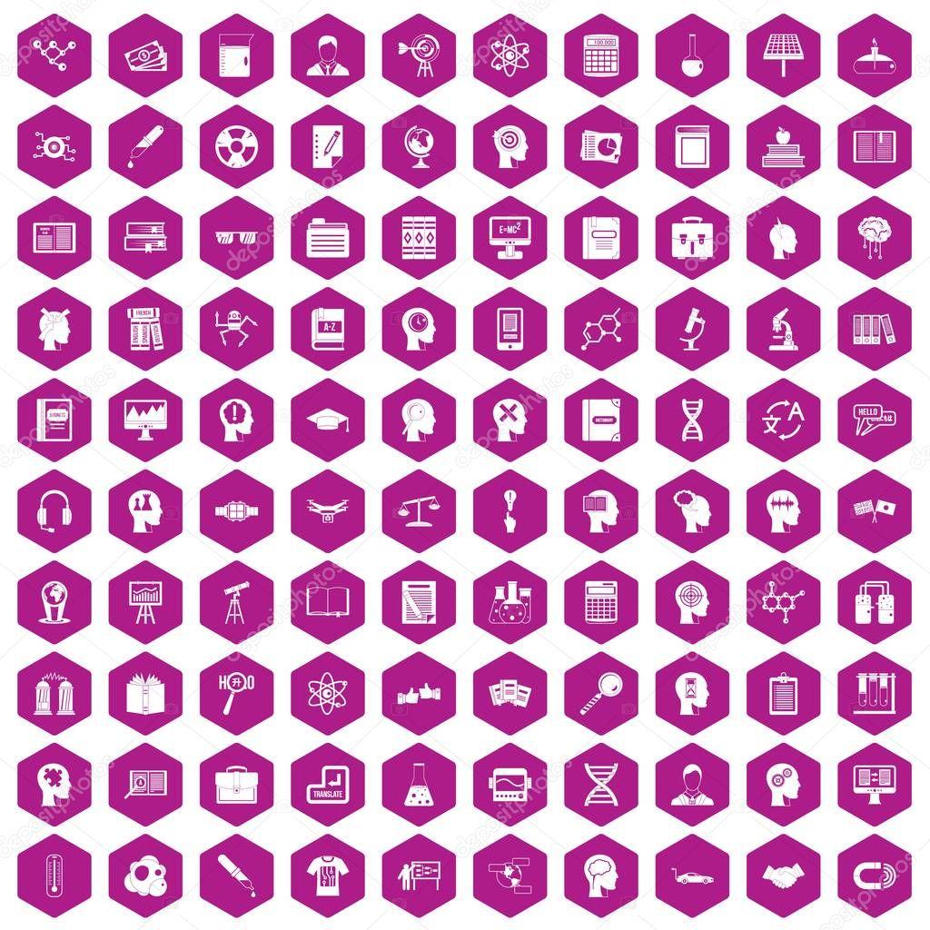 100 knowledge icons hexagon violet