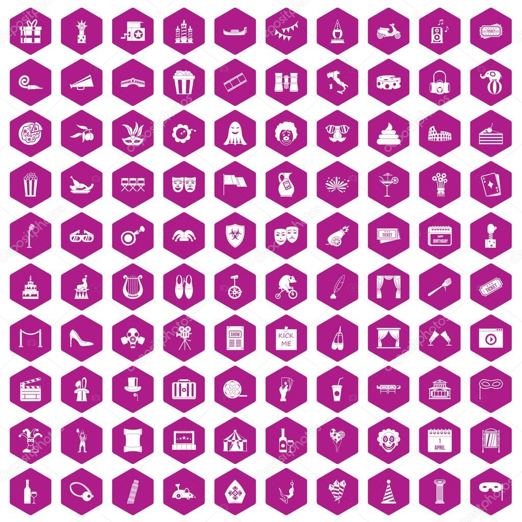 100 mask icons hexagon violet