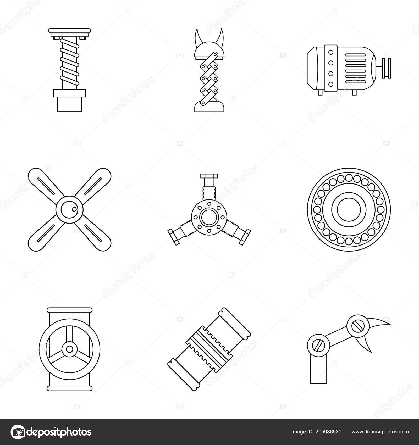 Auto Parts Icon Set Outline Style Stock Vector C Ylivdesign