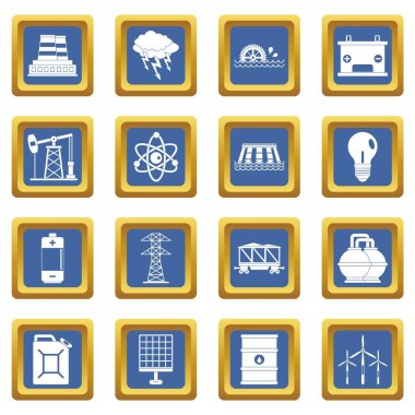 Energy sources items icons set blue