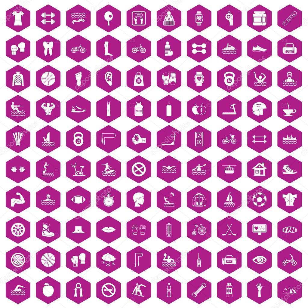 100 men health icons hexagon violet