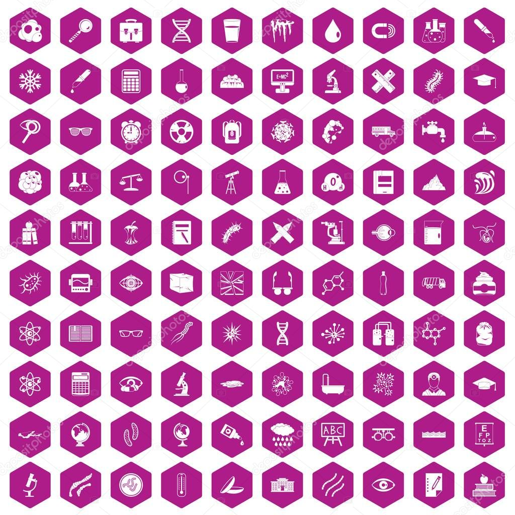 100 microscope icons hexagon violet