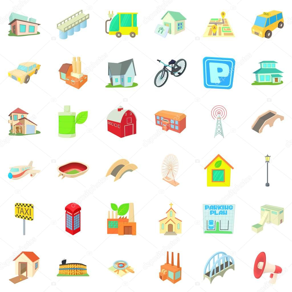 Small city icons set, cartoon style