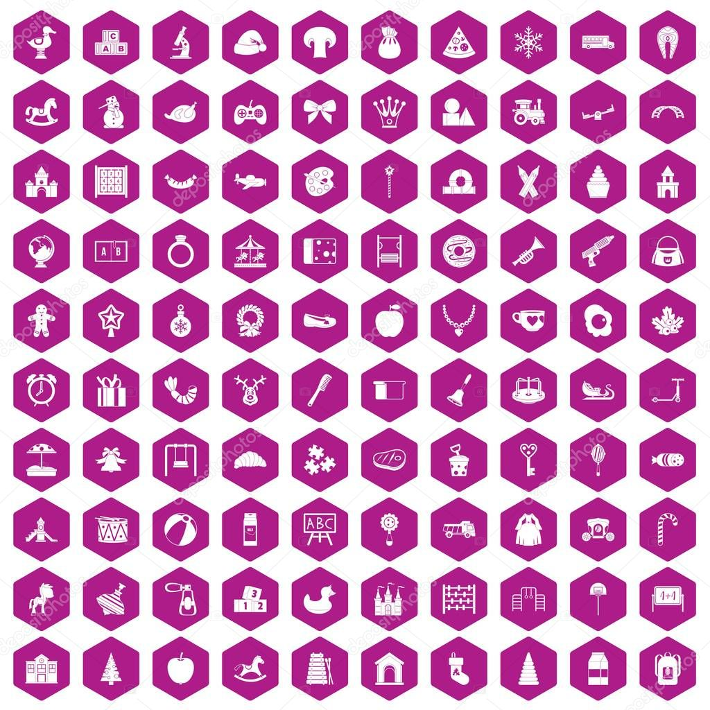 100 nursery school icons hexagon violet
