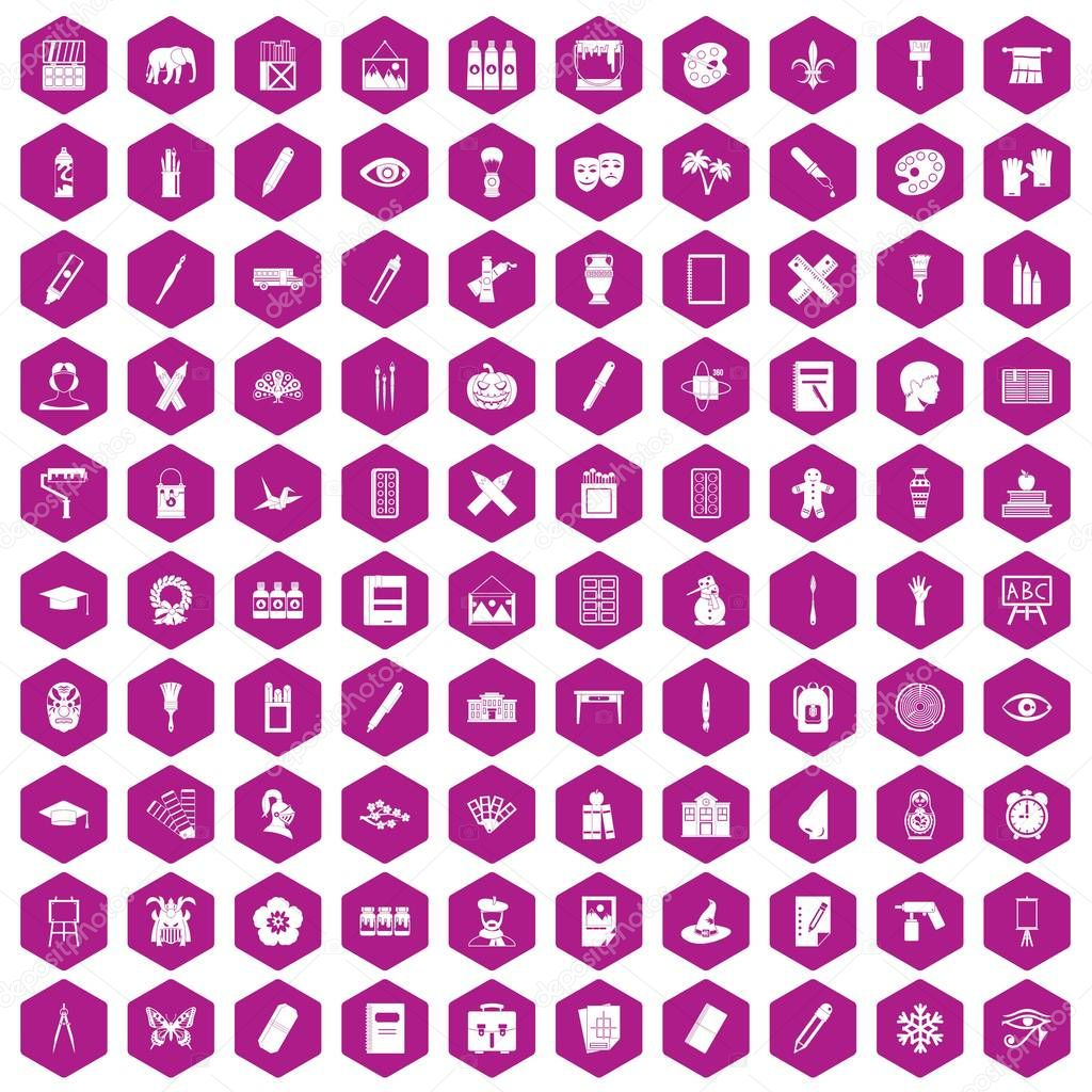 100 paint school icons hexagon violet