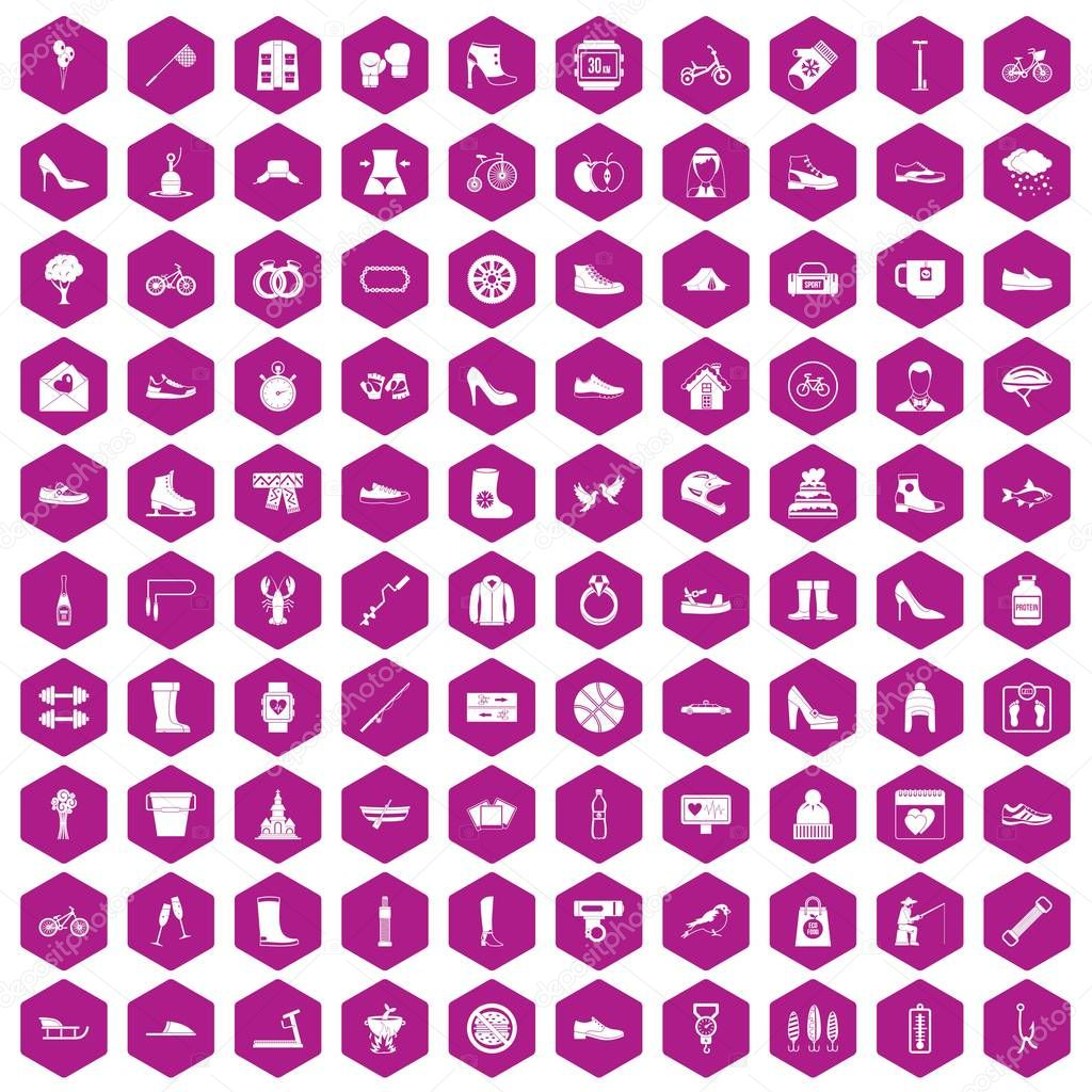 100 shoe icons hexagon violet