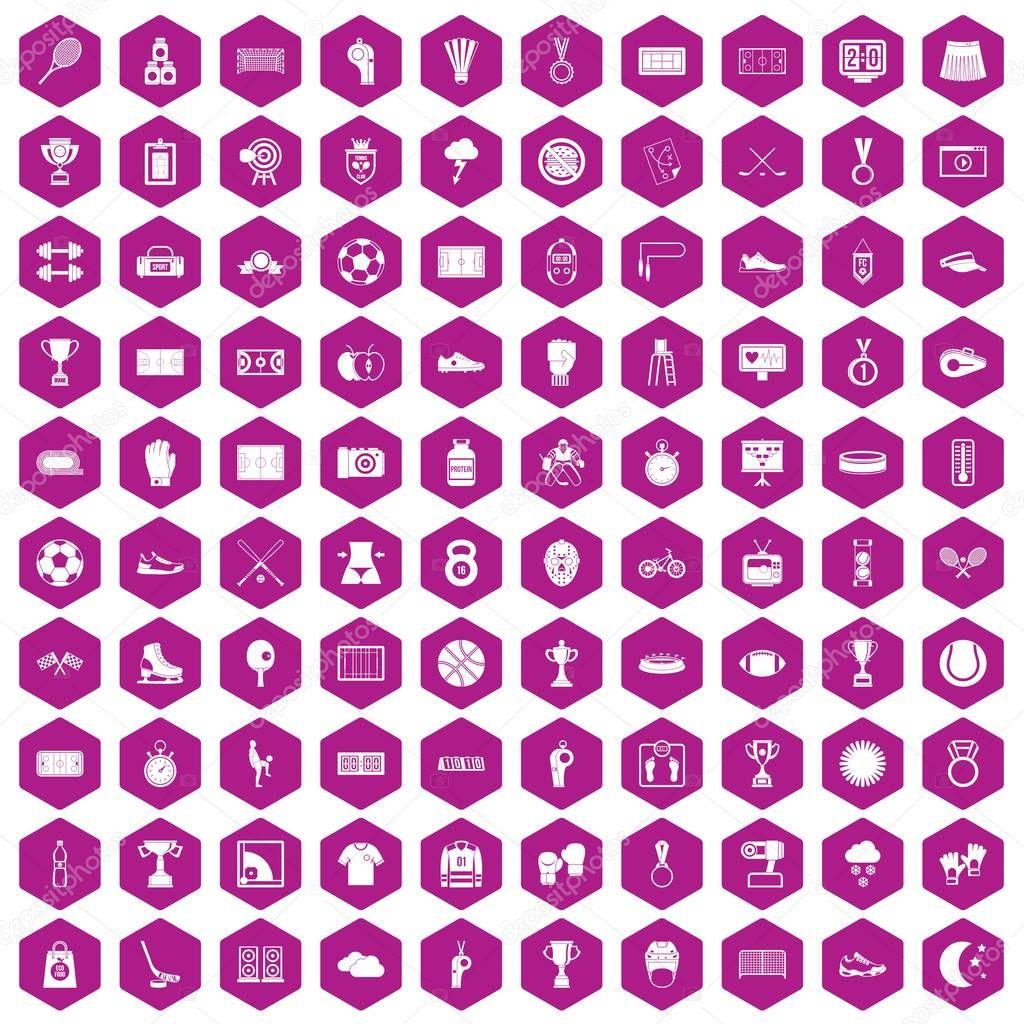 100 stadium icons hexagon violet
