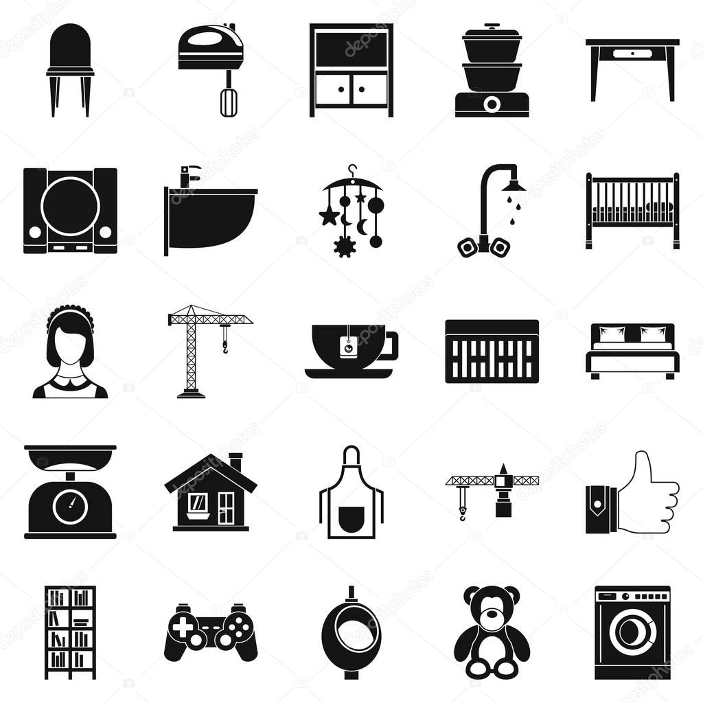 Teahouse icons set, simple style