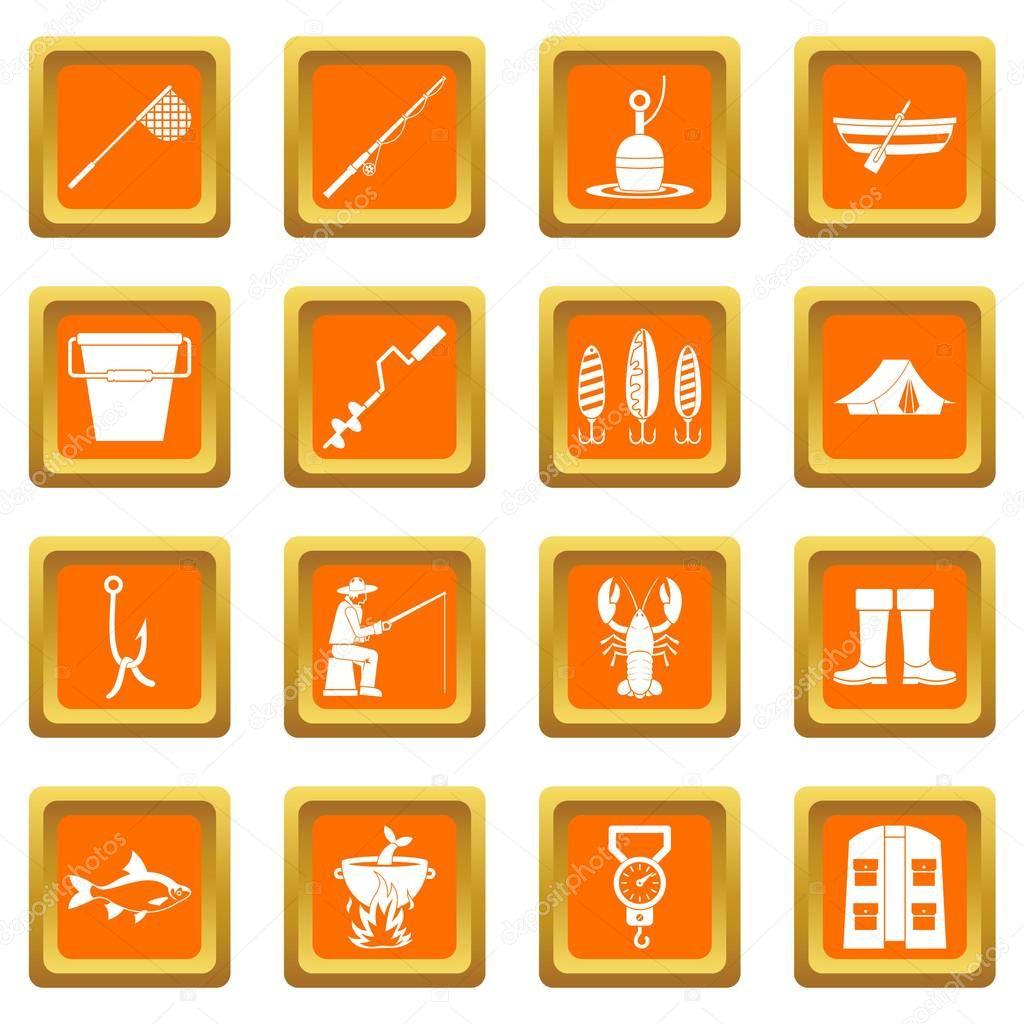 Fishing tools icons set orange