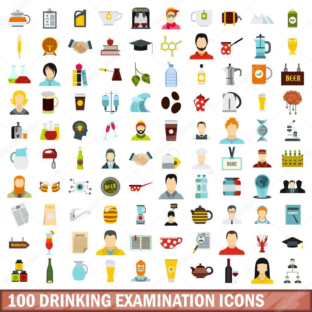 100 drinking examination icons set, flat style