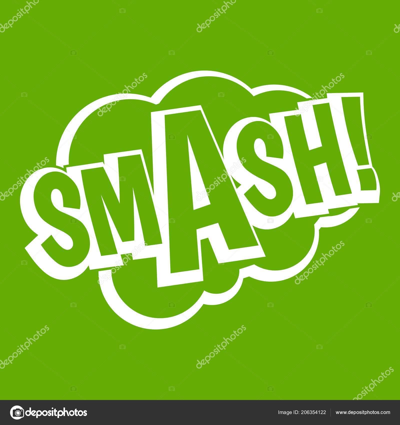 smash comic book bubble text icon green stock vector ylivdesign