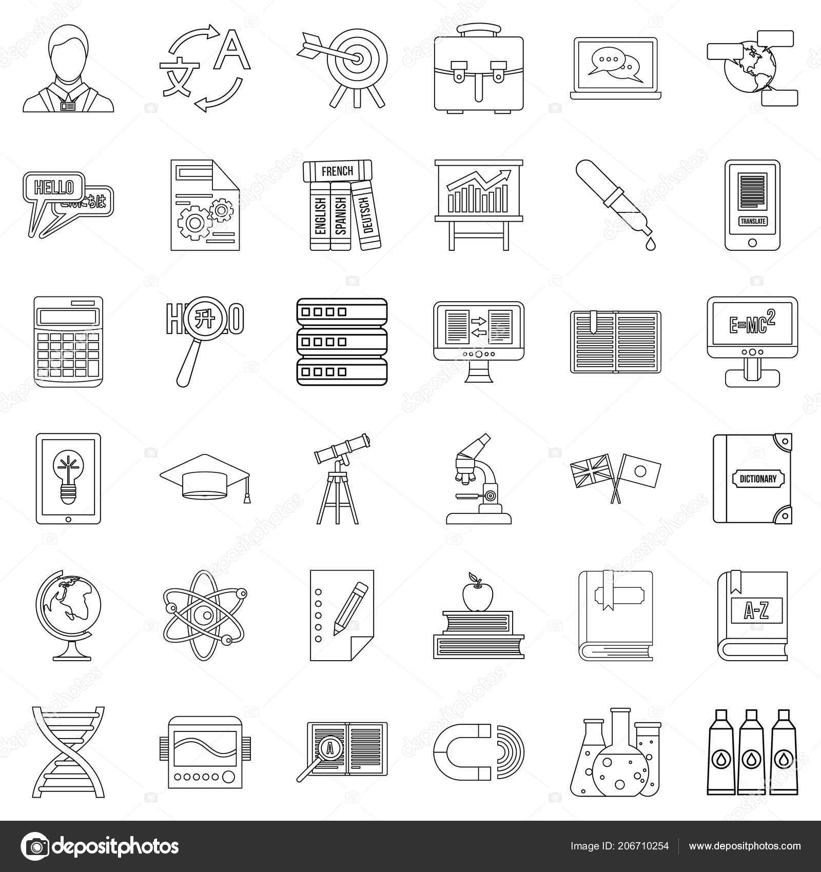 College icons set, outline style — Stock Vector © ylivdesign #206710254