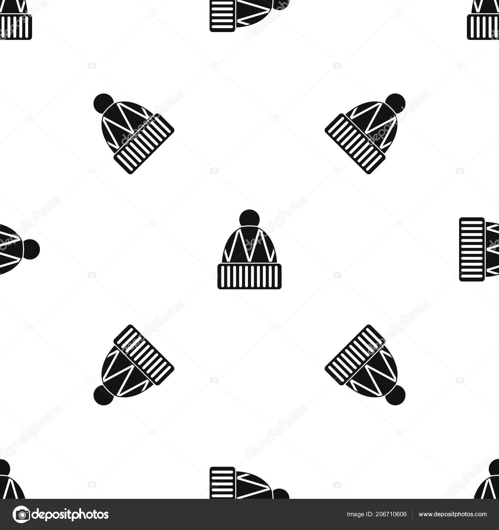 Invierno gorro patrón transparente negro — Archivo Imágenes ...