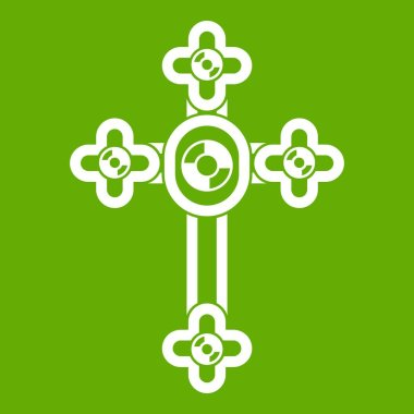 Cross with diamonds icon green