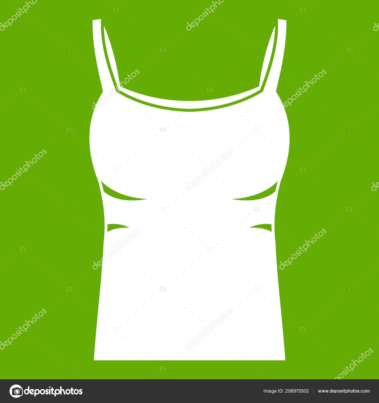 e66200a8a1cf8 Blank women tank top icon white isolated on green background. Vector  illustration — Vector by ylivdesign