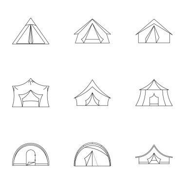 Tent icon set, outline style