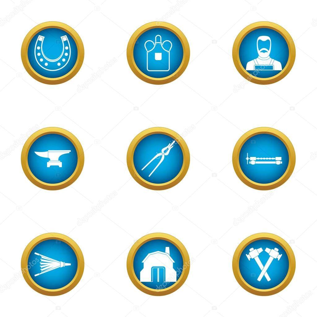 Hammering icons set, flat style