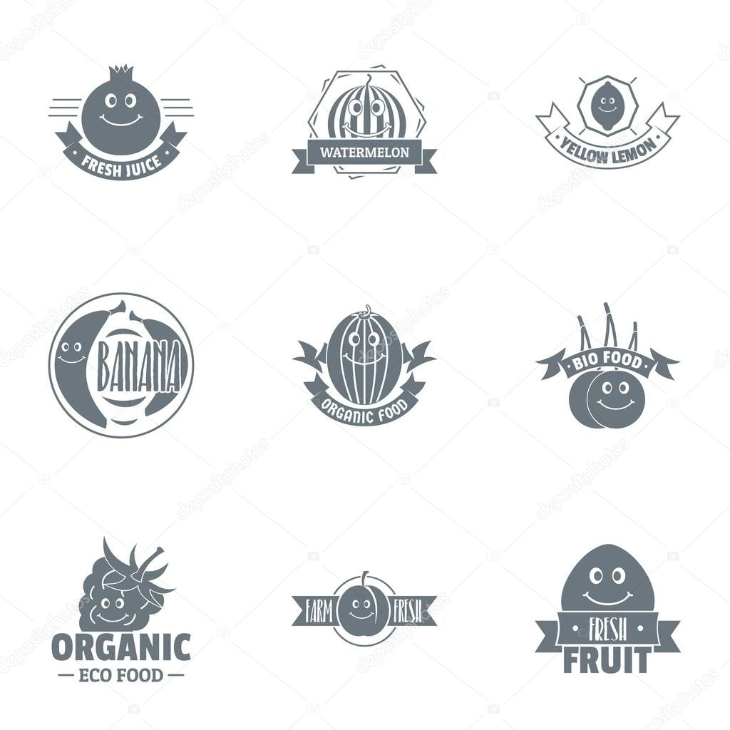 Vegan foodstuff logo set, simple style
