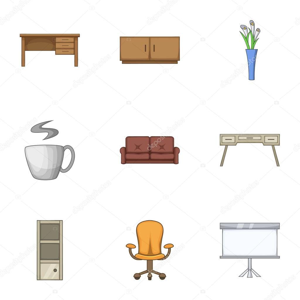 Home stool icons set, cartoon style