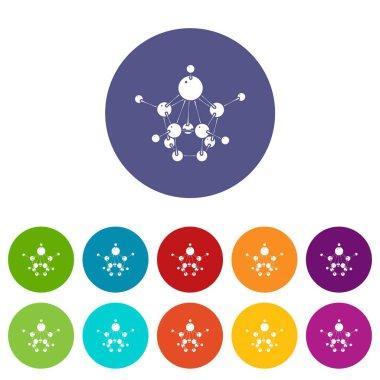 Aspirin icons set vector color