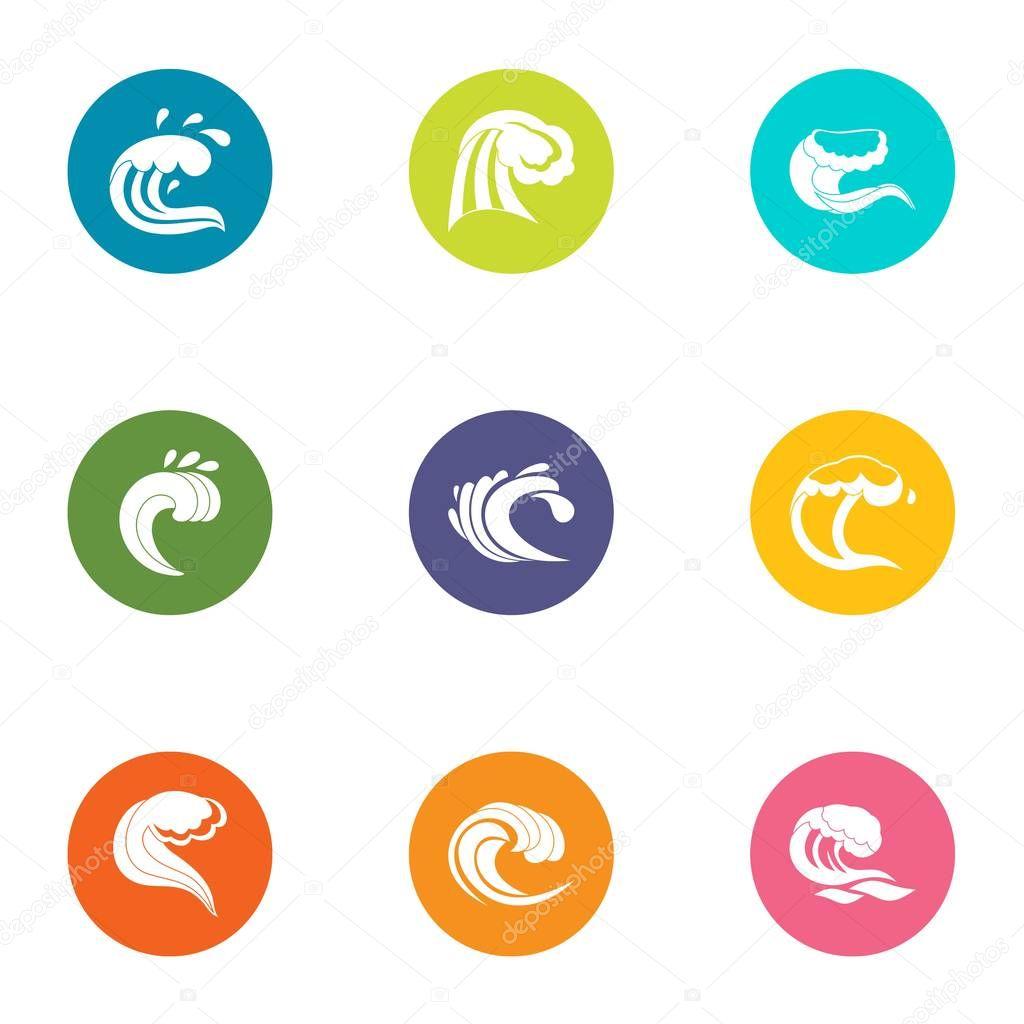 Breakwater icons set, flat style