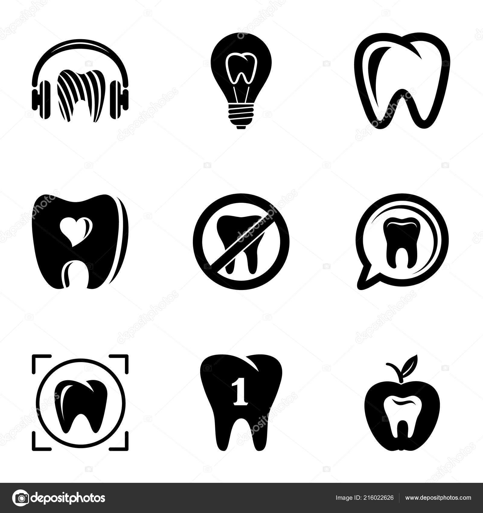 Conjunto De ícones De Proteção Dental Estilo Simples Vetores De