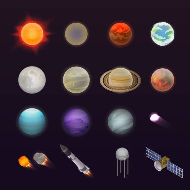 Planets icon set, isometric style