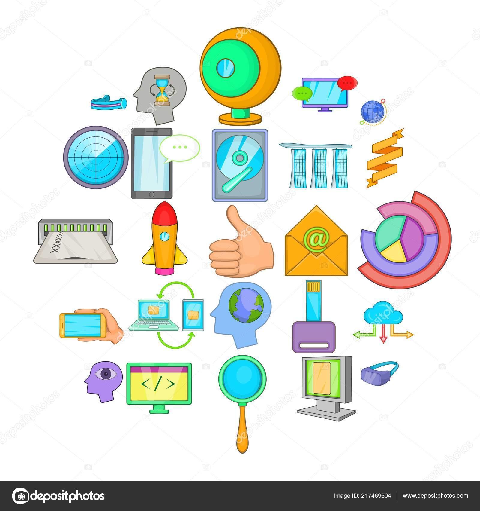 Data transfer icons set, cartoon style \u2014 Stock Vector